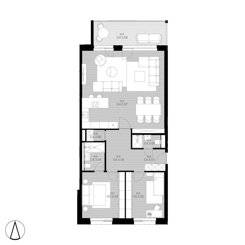 C11 Apartmán C4.3 - rezidencia K Železnej Studienke