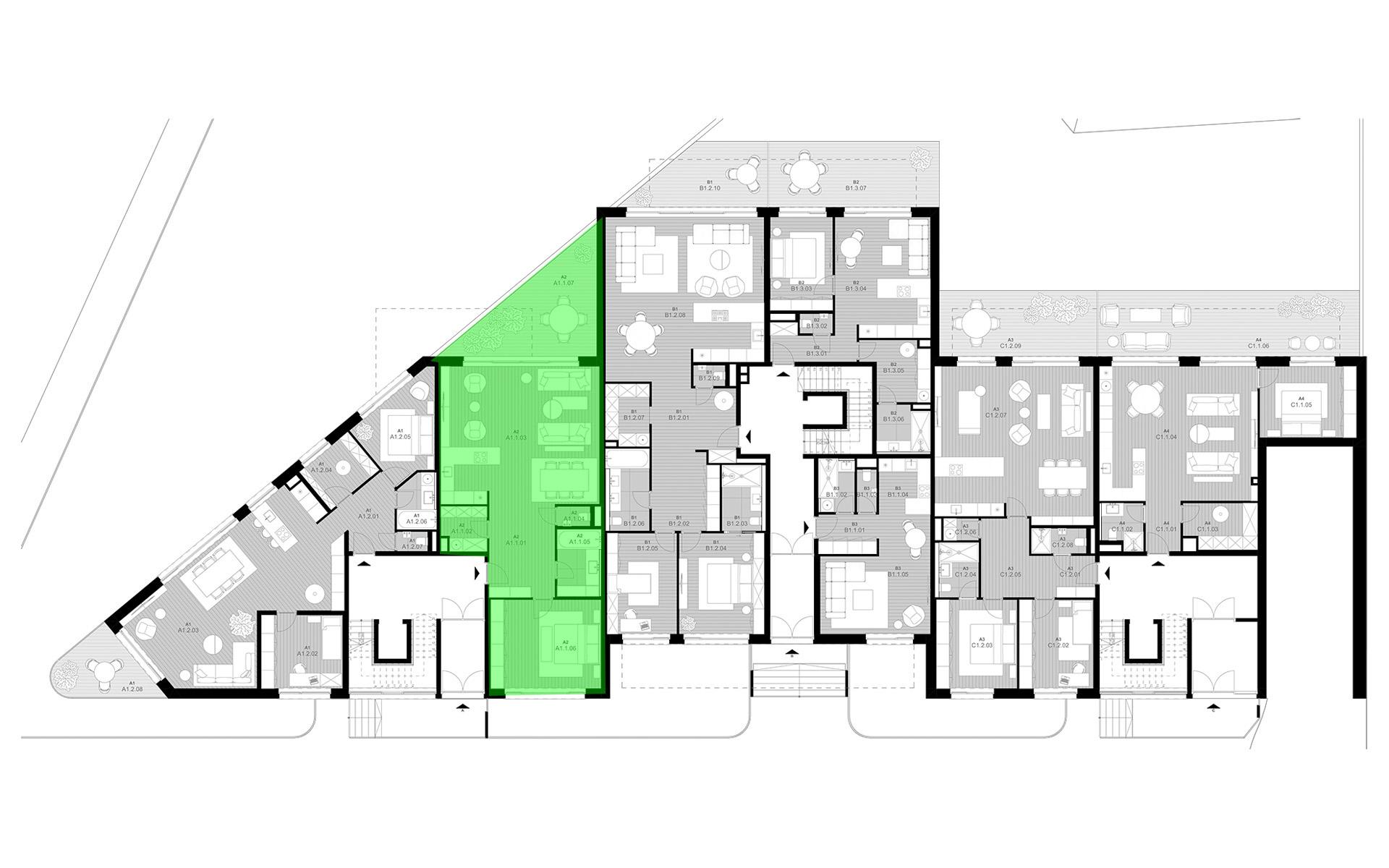 rezidencia K Železnej Studienke - pôdorys so zvýraznením apartmánu A1.1