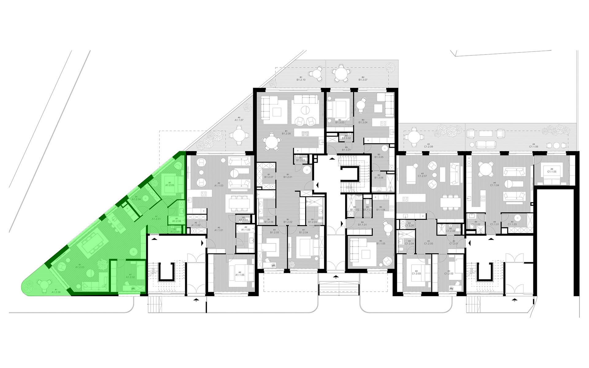rezidencia K Železnej Studienke - pôdorys so zvýraznením apartmánu A1.2