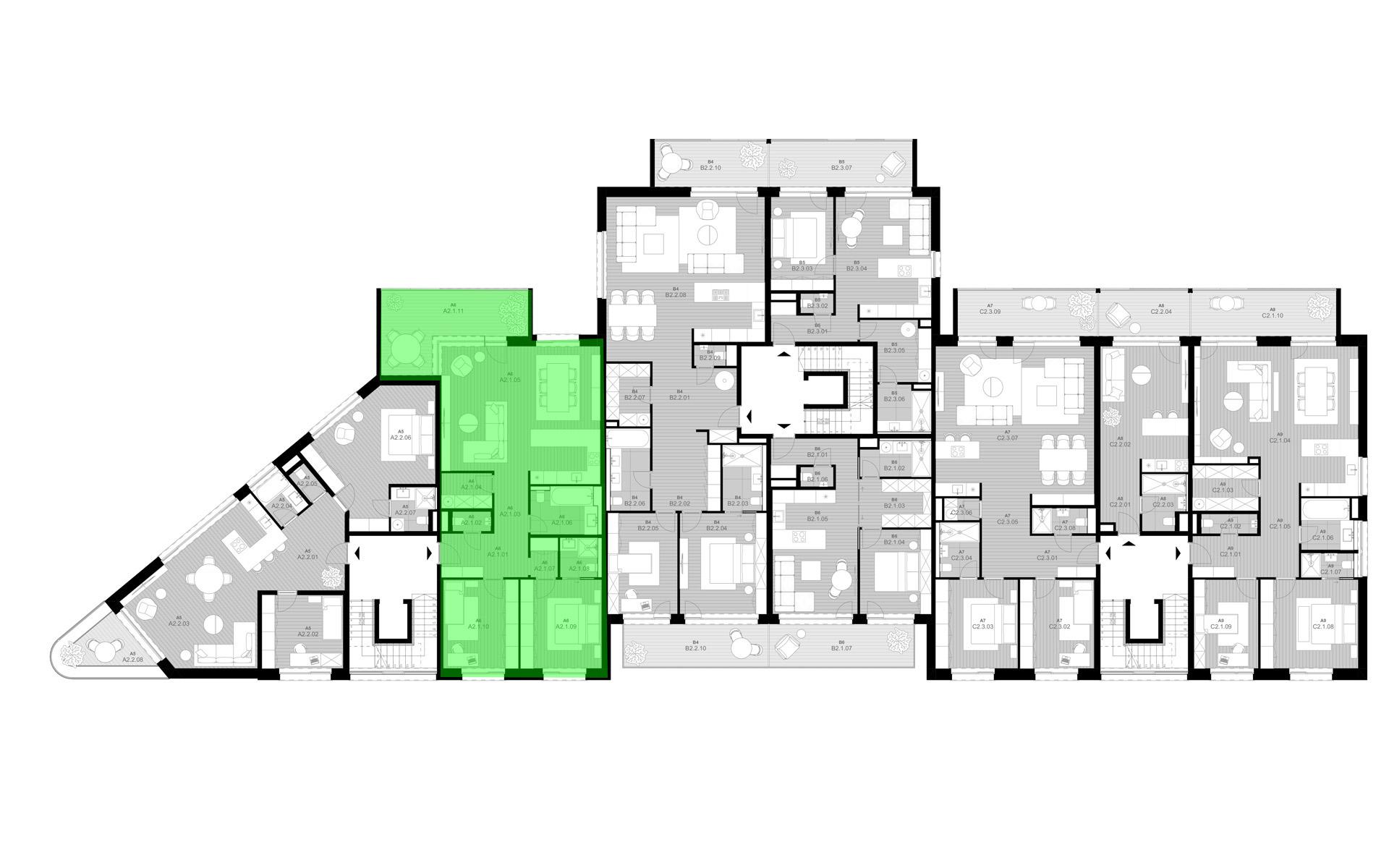 rezidencia K Železnej Studienke - pôdorys so zvýraznením