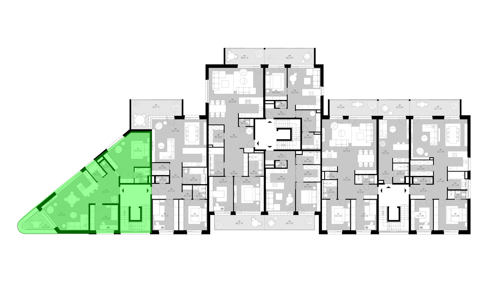 rezidencia K Železnej Studienke - pôdorys so zvýraznením apartmánu A2.2