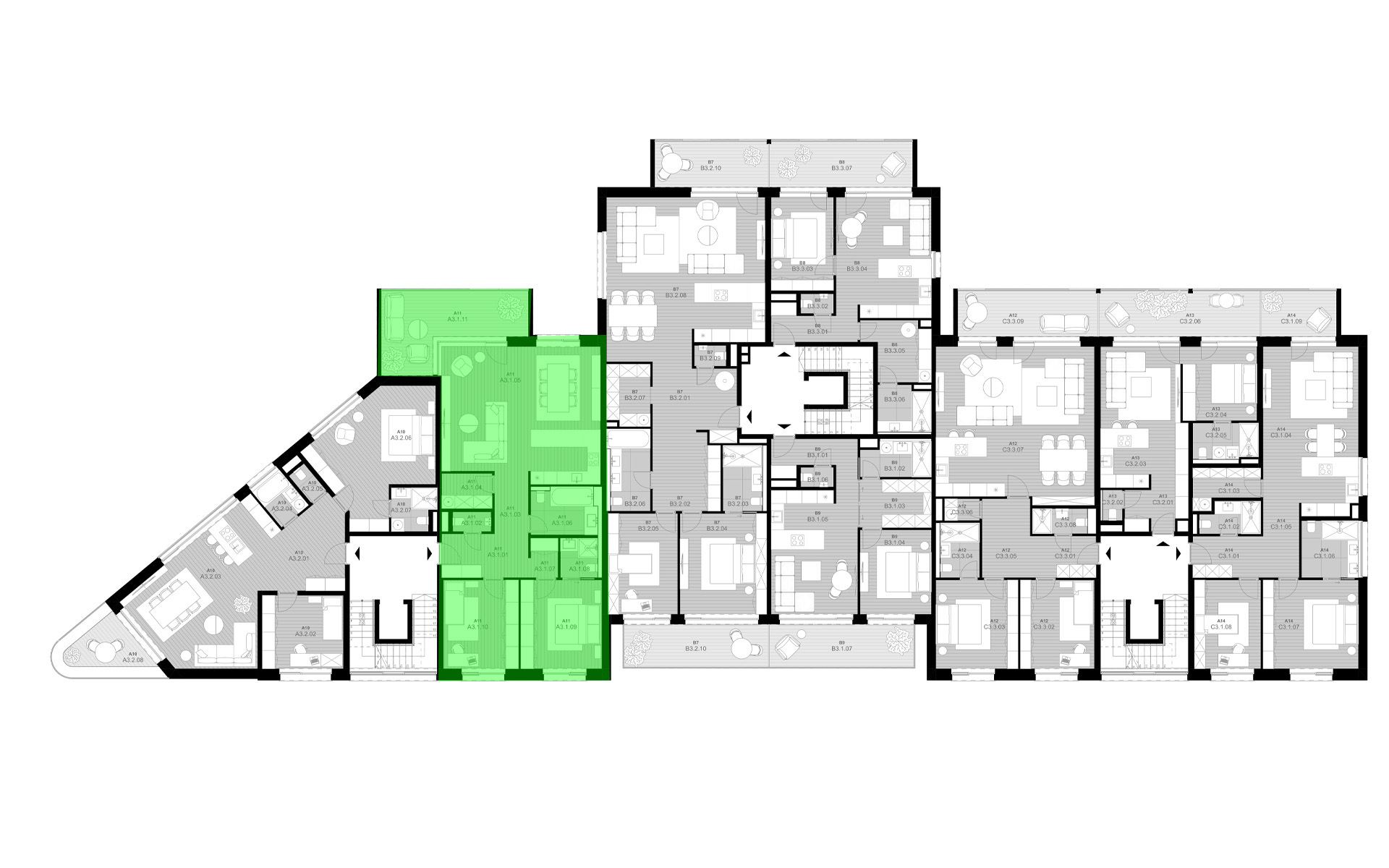 rezidencia K Železnej Studienke - pôdorys so zvýraznením apartmánu A3.1