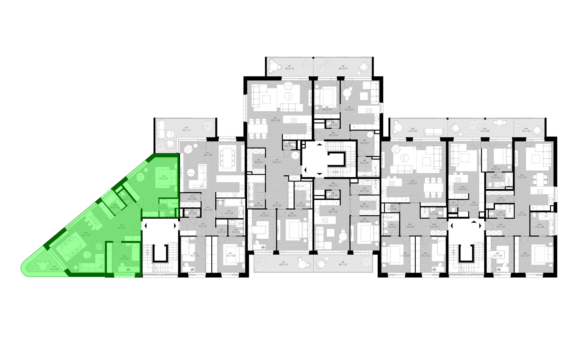 rezidencia K Železnej Studienke - pôdorys so zvýraznením A3.2
