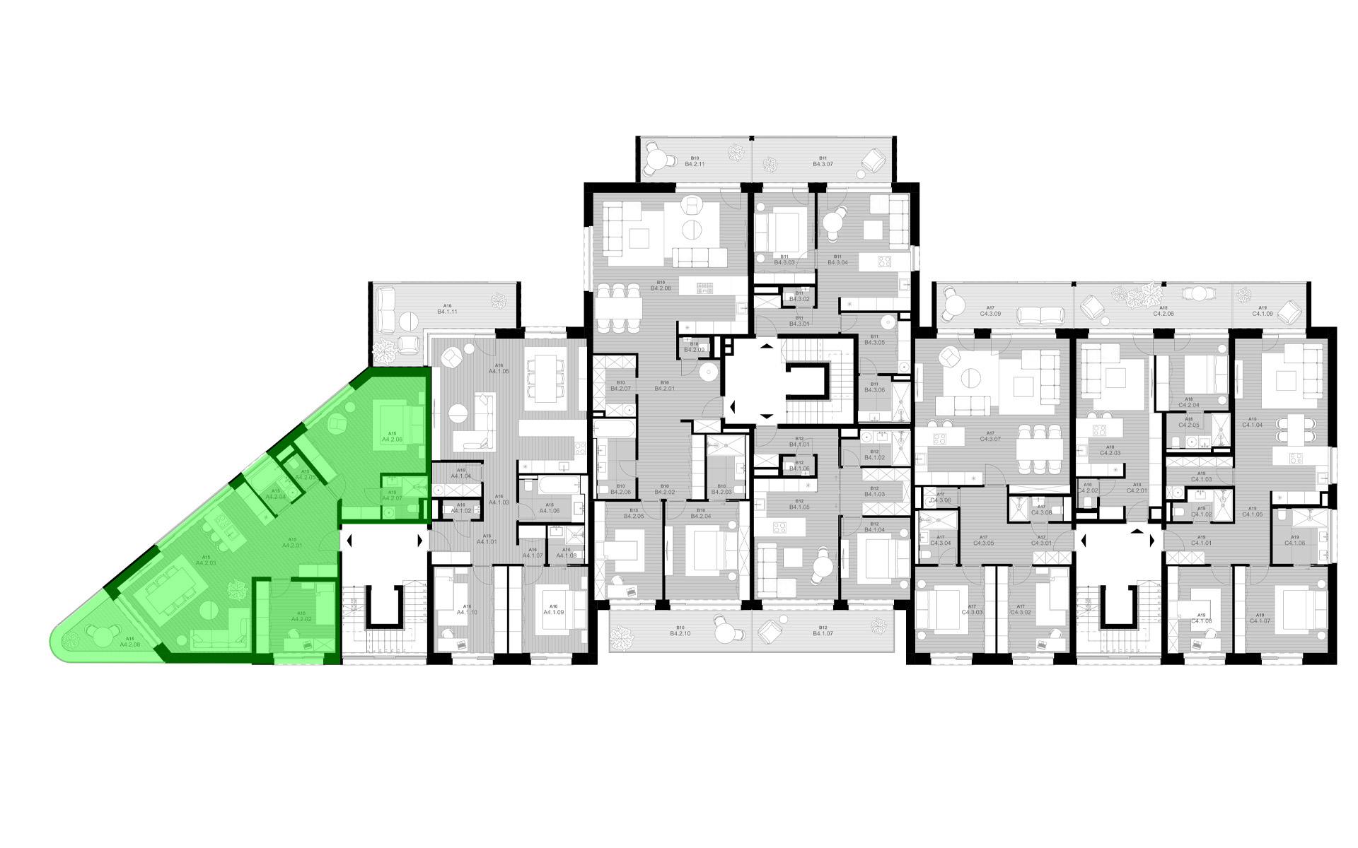 rezidencia K Železnej Studienke - pôdorys so zvýraznením apartmánu A4.2