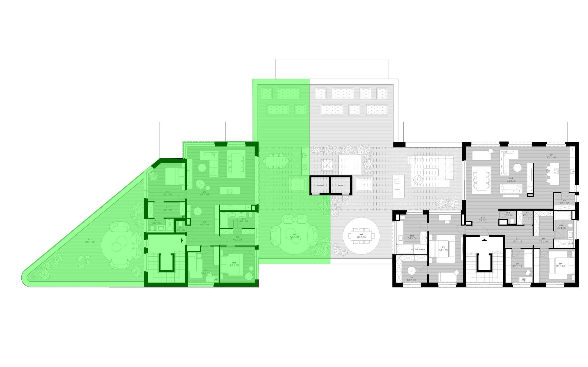 rezidencia K Železnej Studienke - pôdorys so zvýraznením apartmánu A5.1