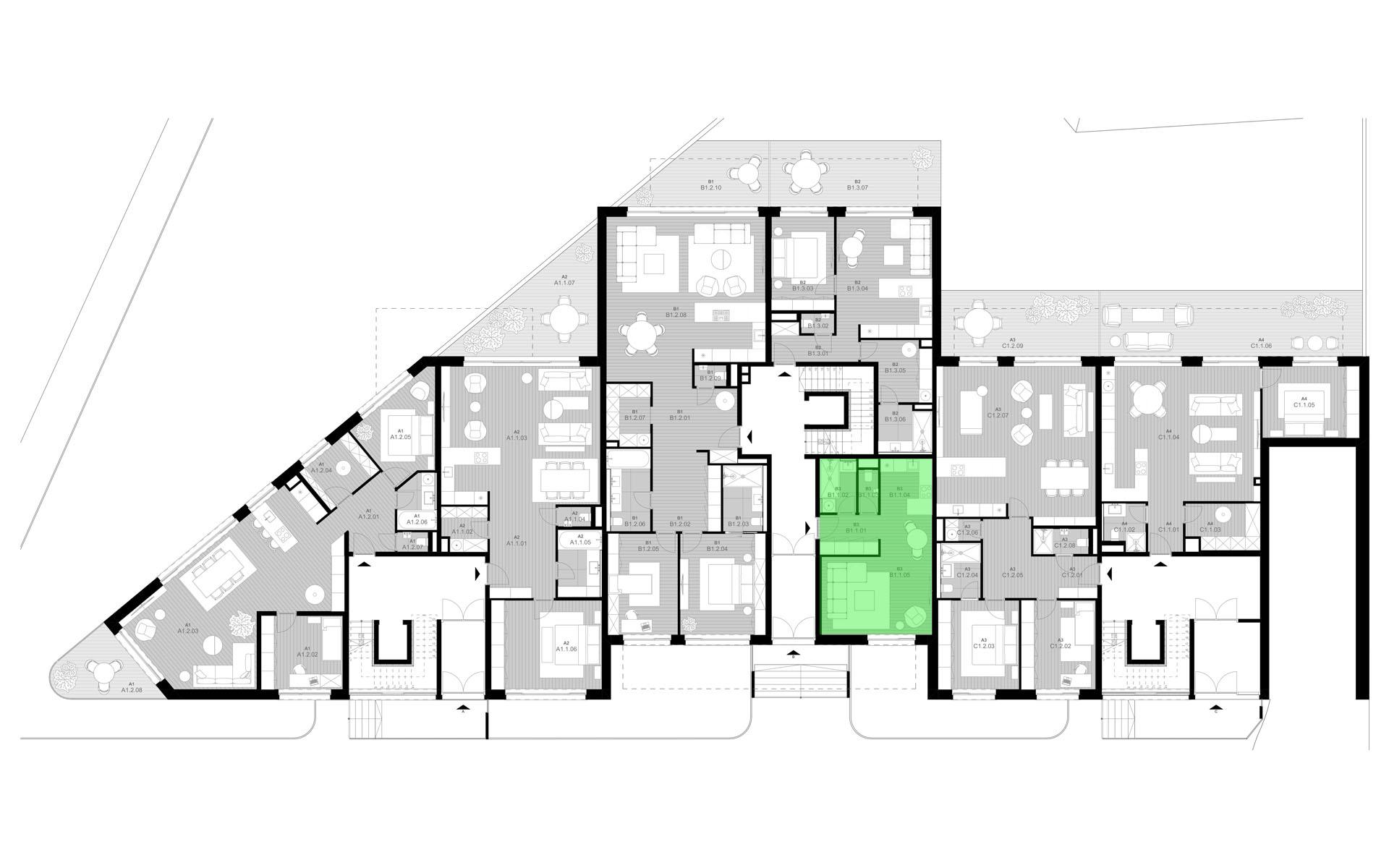 pôdorys so zvýraznením bytu B1.1 - rezidencia K Železnej Studienke