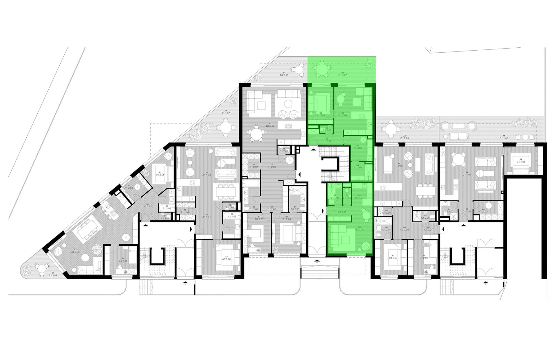 rezidencia K Železnej Studienke - pôdorys so zvýraznením bytu B1.1