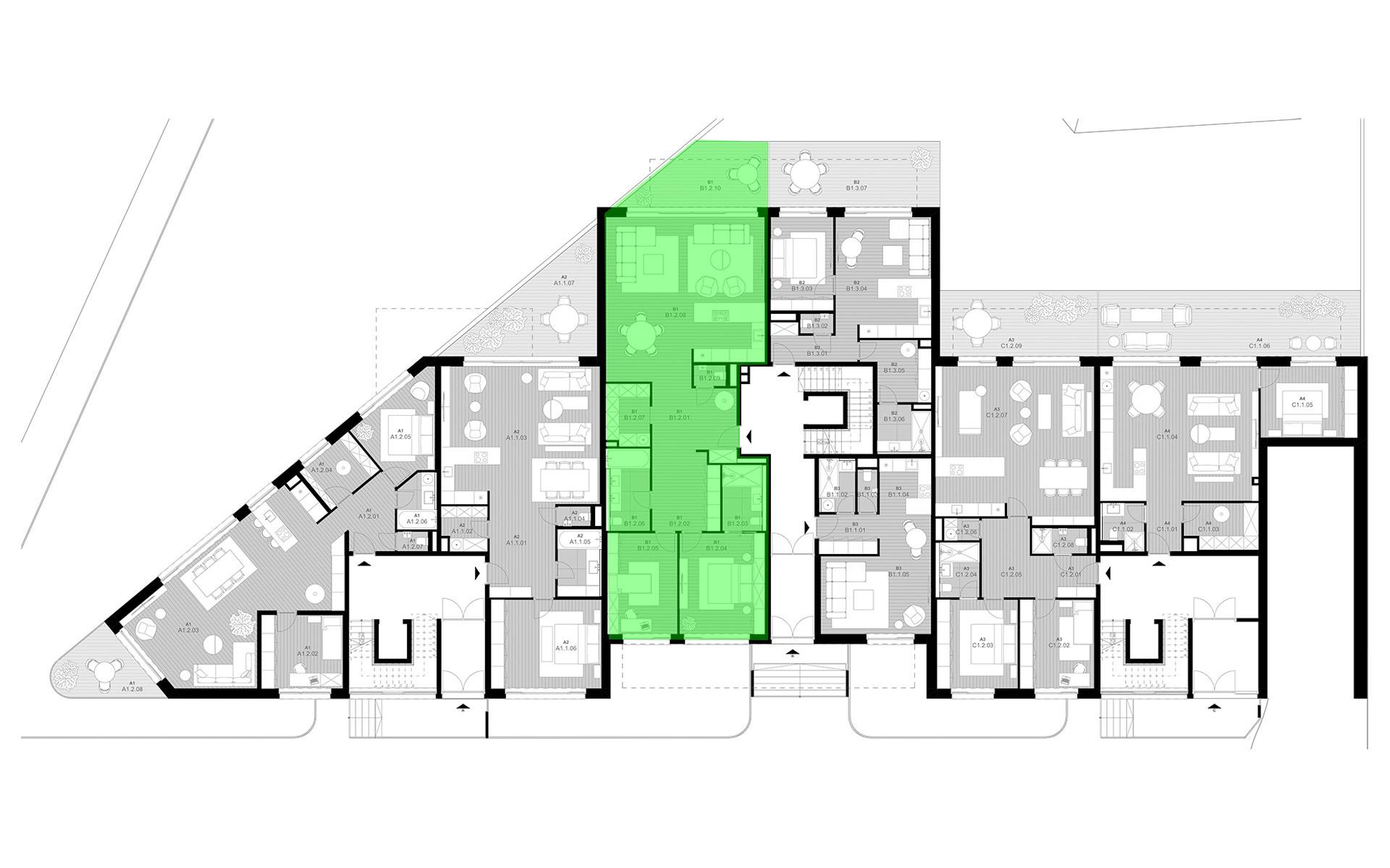 rezidencia K Železnej Studienke - pôdorys so zvýraznením bytu B1.2