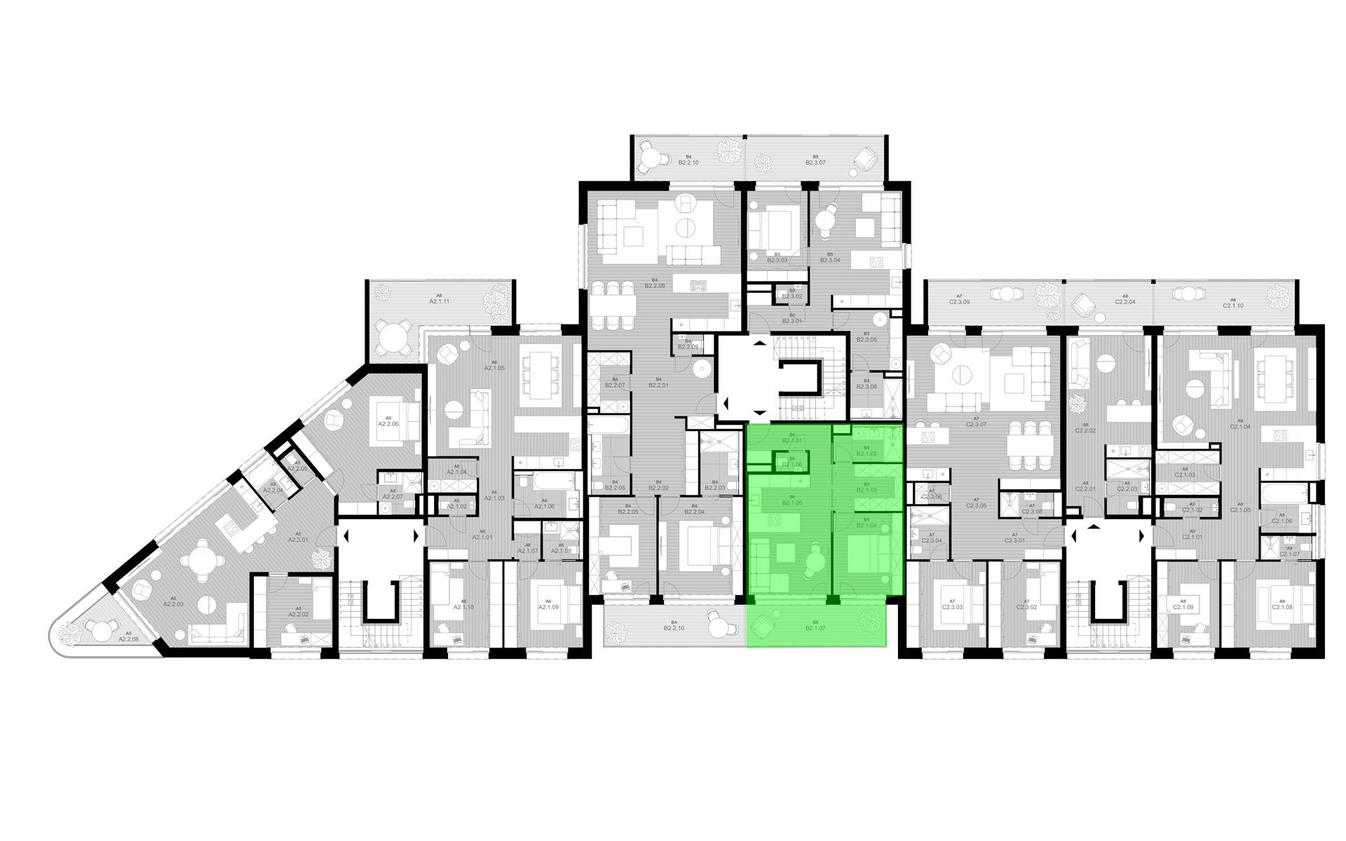 rezidencia K Železnej Studienke - pôdorys so zvýraznením bytu B2.1