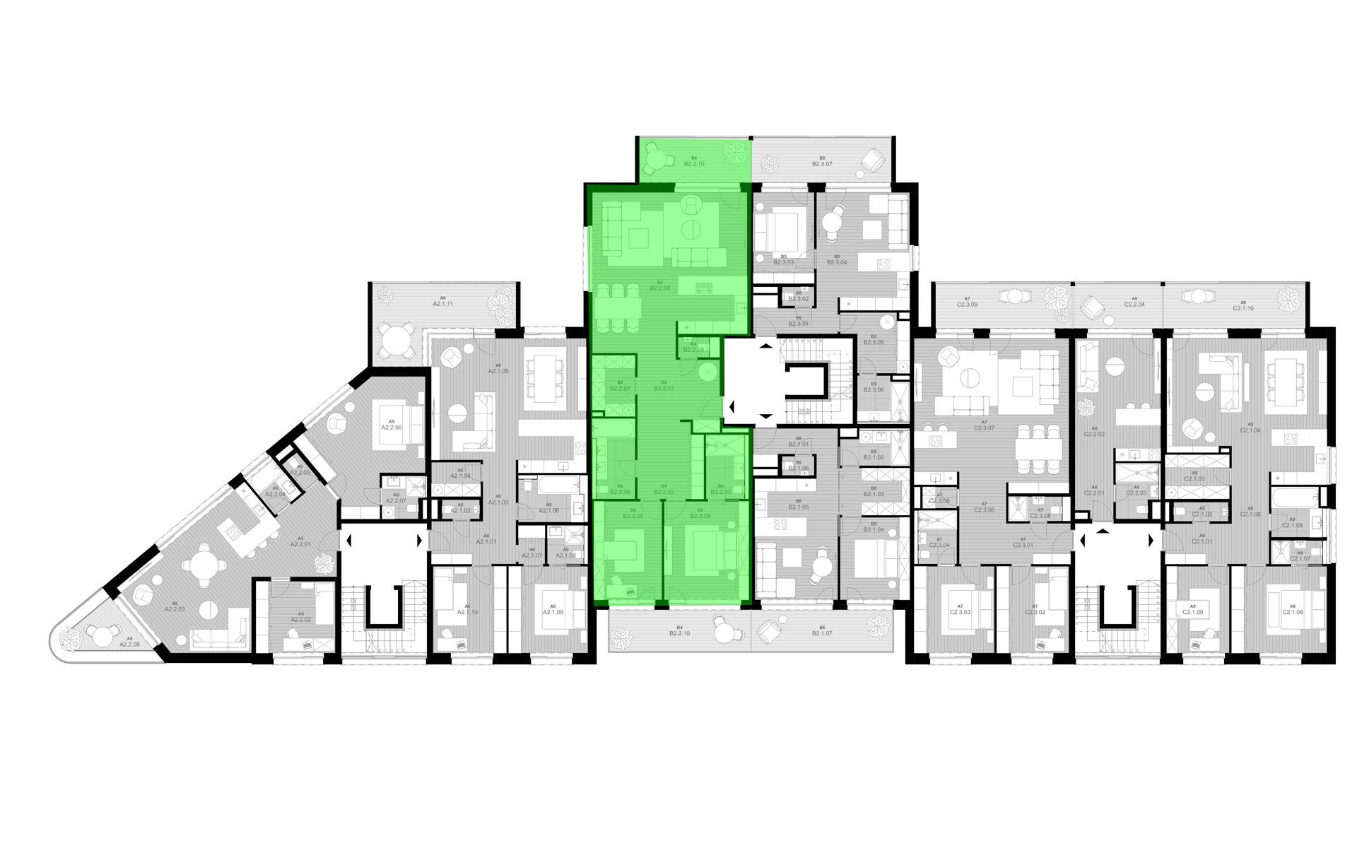rezidencia K Železnej Studienke - pôdorys so zvýraznením bytu B2.2
