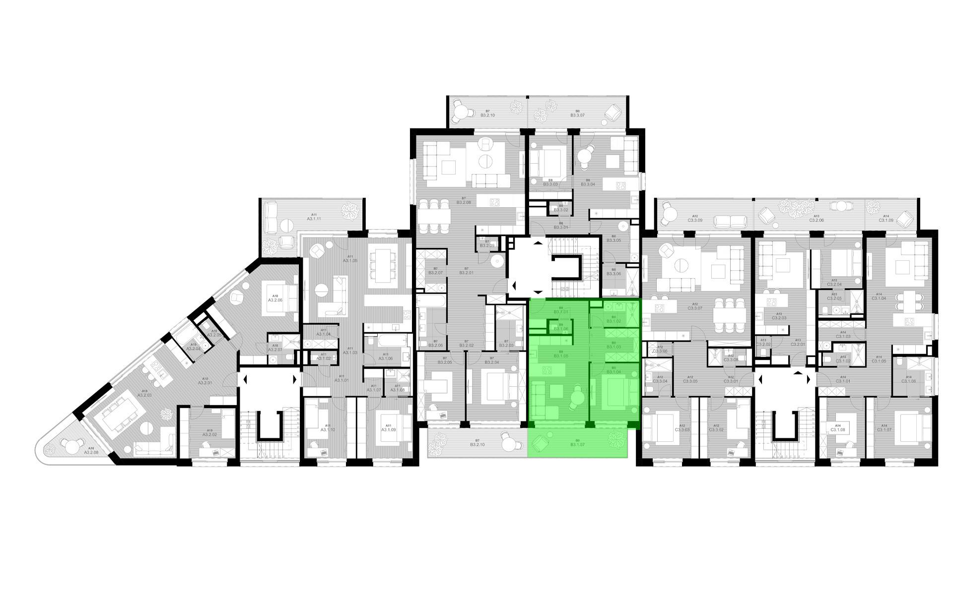 rezidencia K Železnej Studienke - pôdorys so zvýraznením bytu B3.1