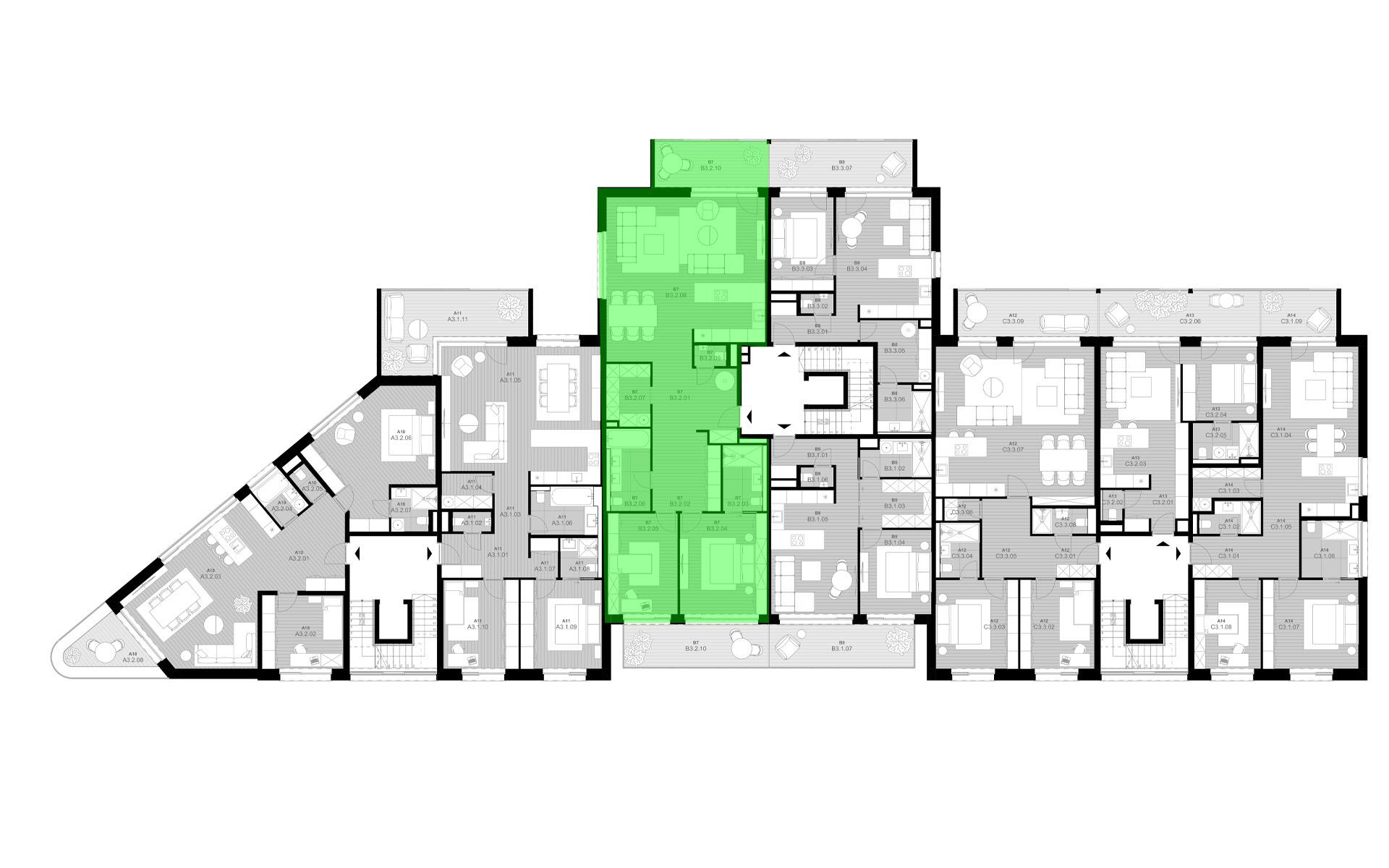 rezidencia K Železnej Studienke - pôdorys so zvýraznením bytu B3.2