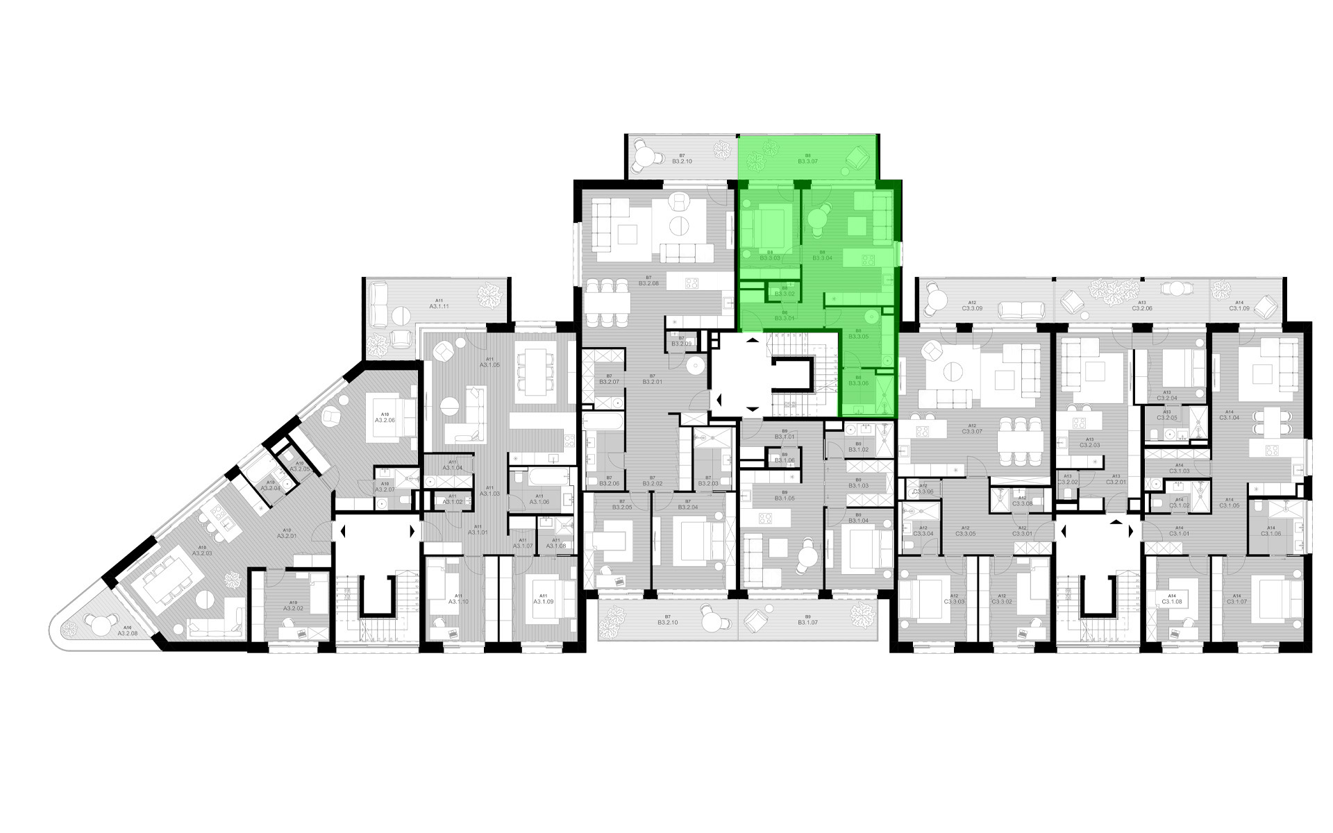 rezidencia K Železnej Studienke - pôdorys so zvýraznením bytu B3.3