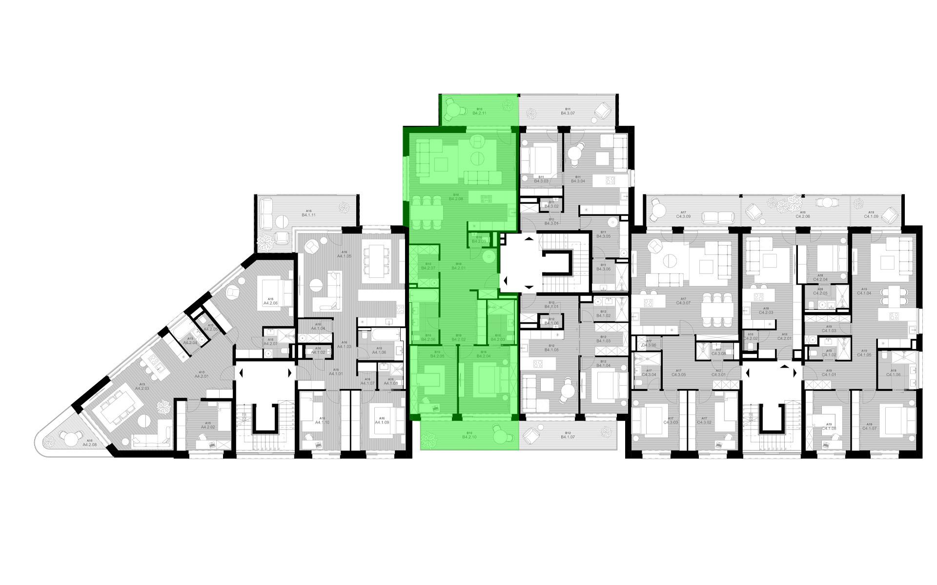rezidencia K Železnej Studienke - pôdorys so zvýraznením bytu B4.2