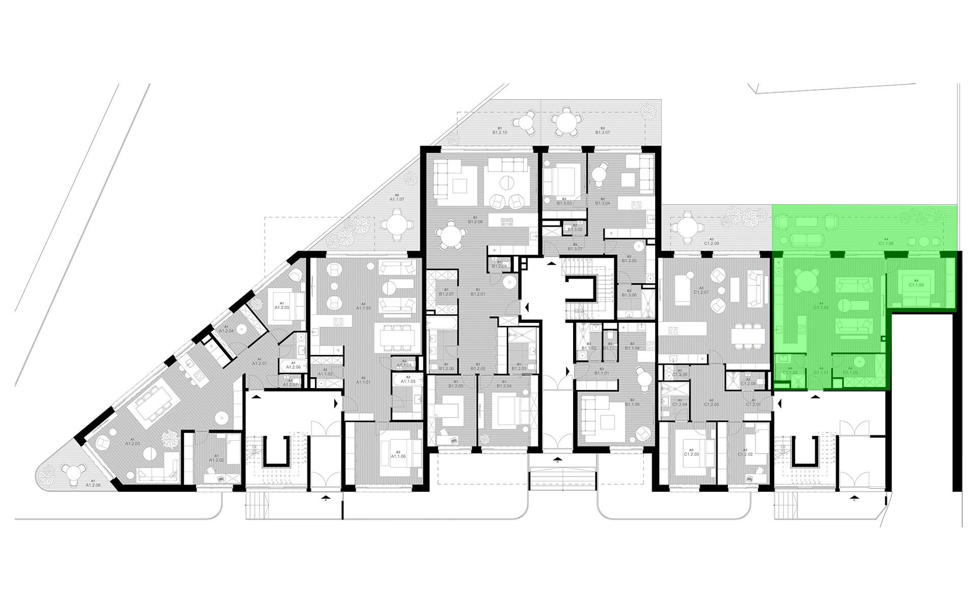 rezidencia K Železnej Studienke - pôdorys so zvýraznením apartmánu C1.1