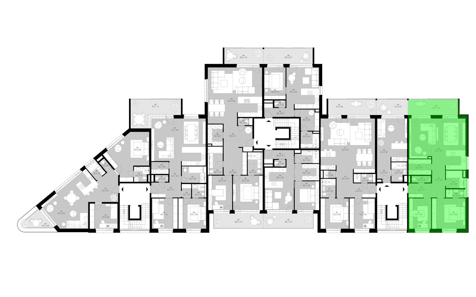 rezidencia K Železnej Studienke - pôdorys so zvýraznením apartmánu C2.1