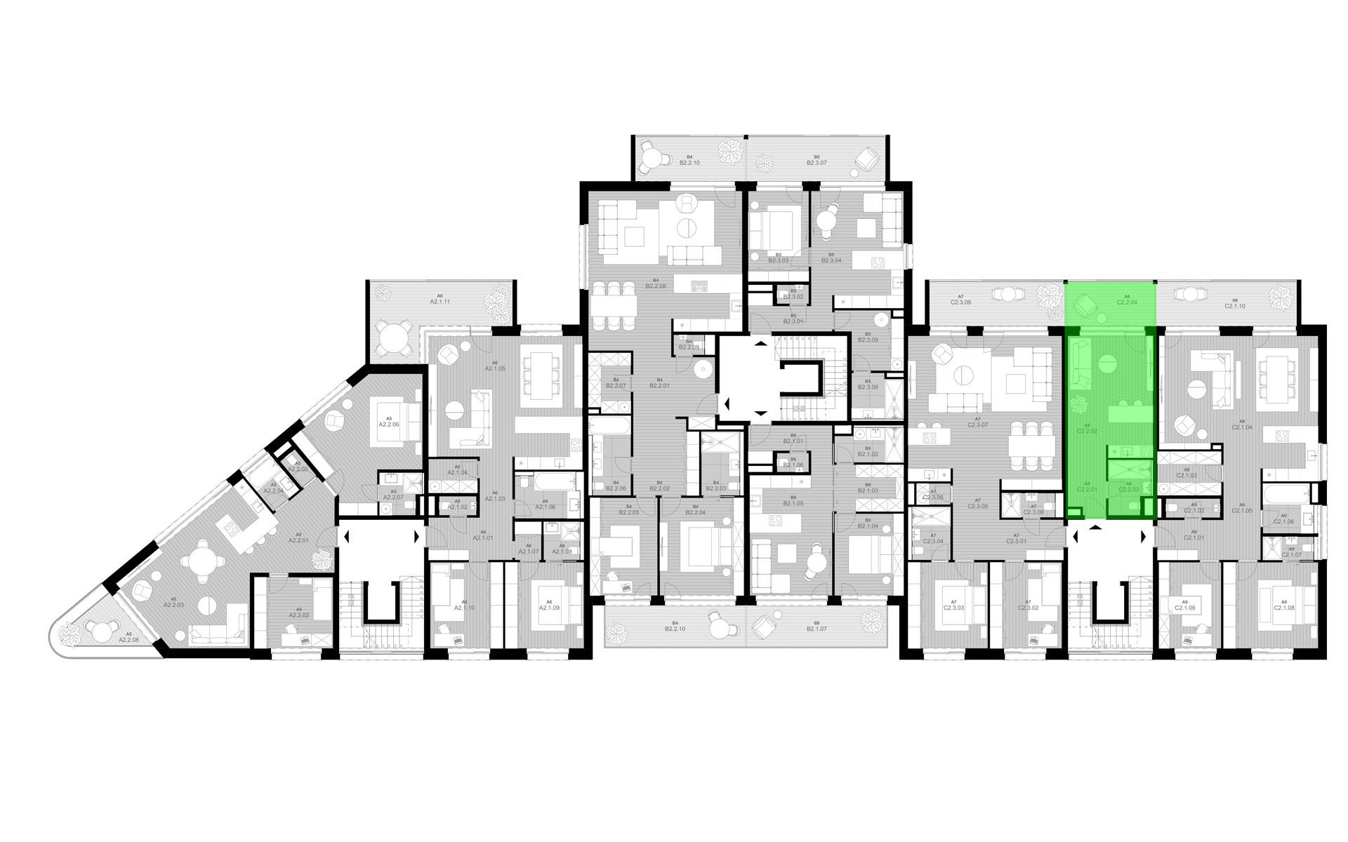rezidencia K Železnej Studienke - pôdorys so zvýraznením apartmánu C2.2