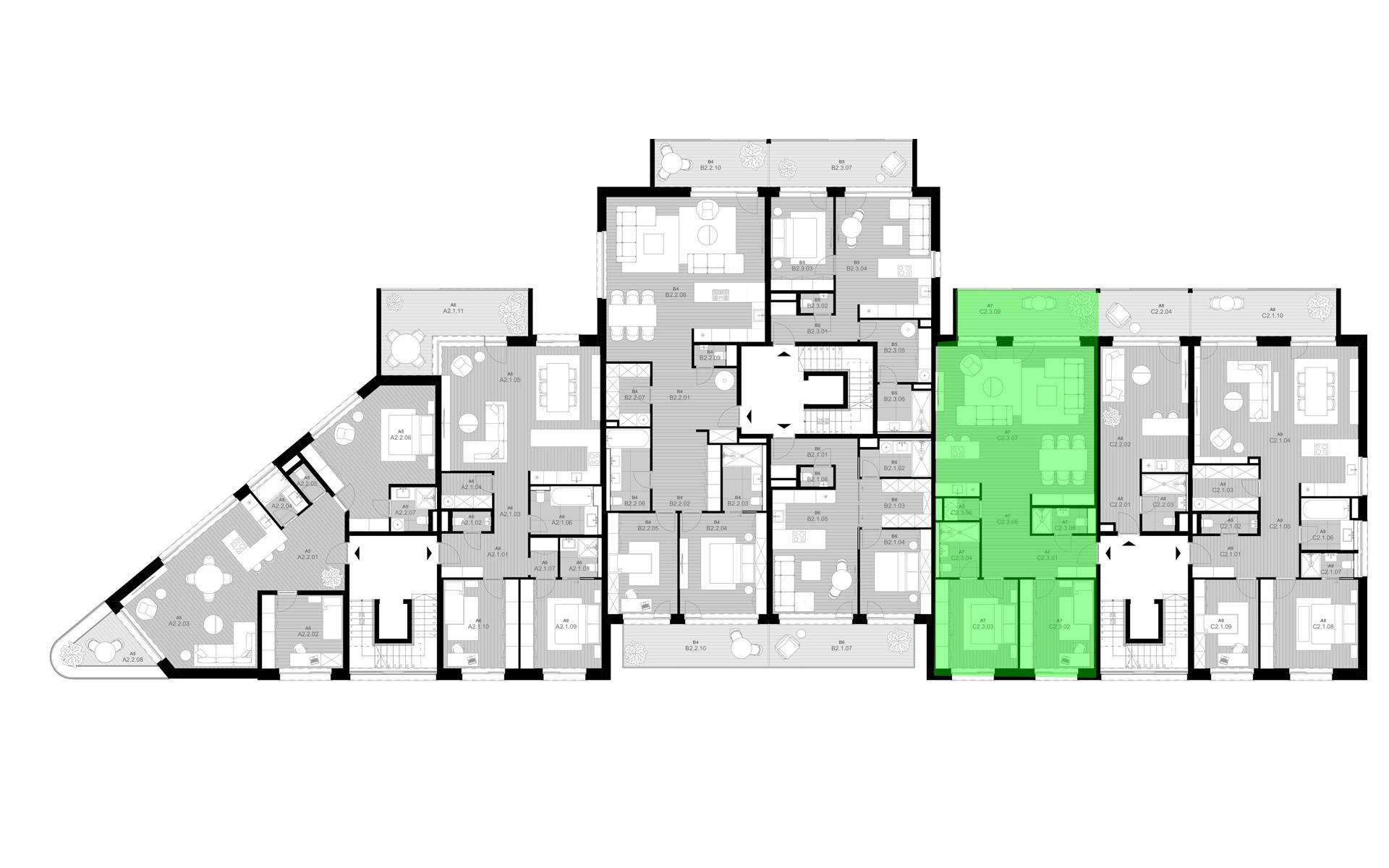 rezidencia K Železnej Studienke - pôdorys so zvýraznením apartmánu C3.2