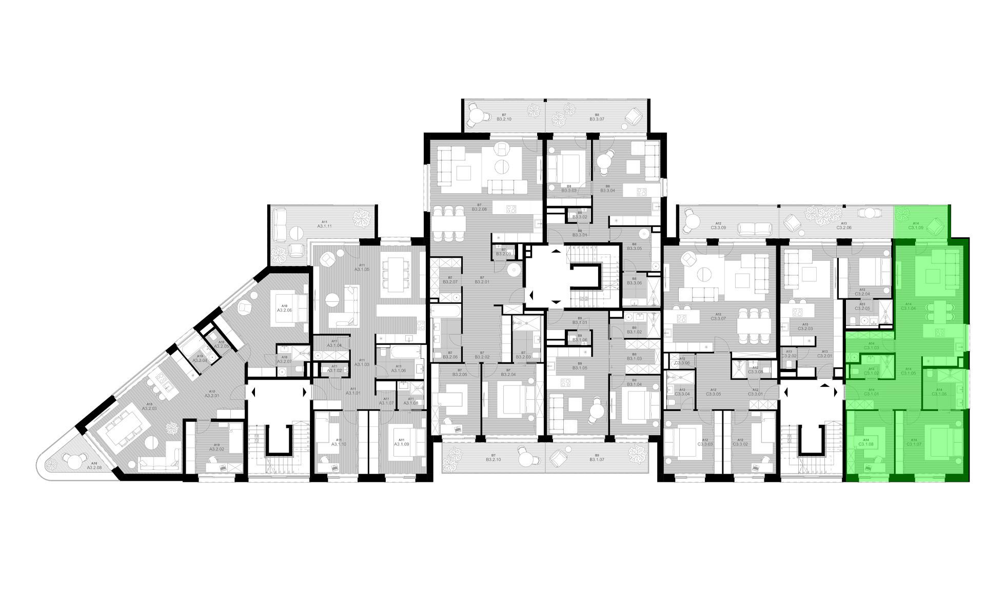 rezidencia K Železnej Studienke - pôdorys so zvýraznením apartmánu C3.1