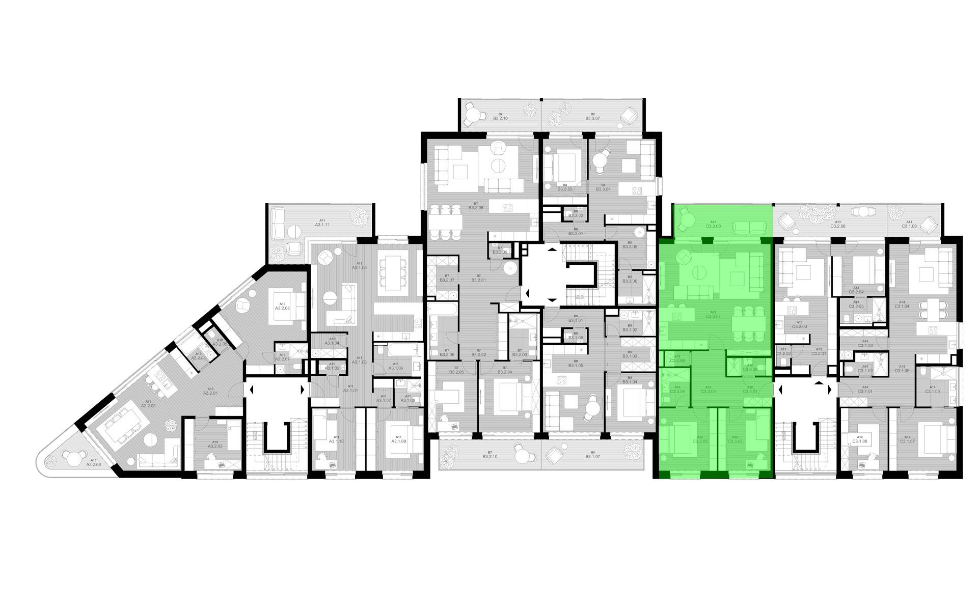 rezidencia K Železnej Studienke - pôdorys so zvýraznením apartmánu C3.3
