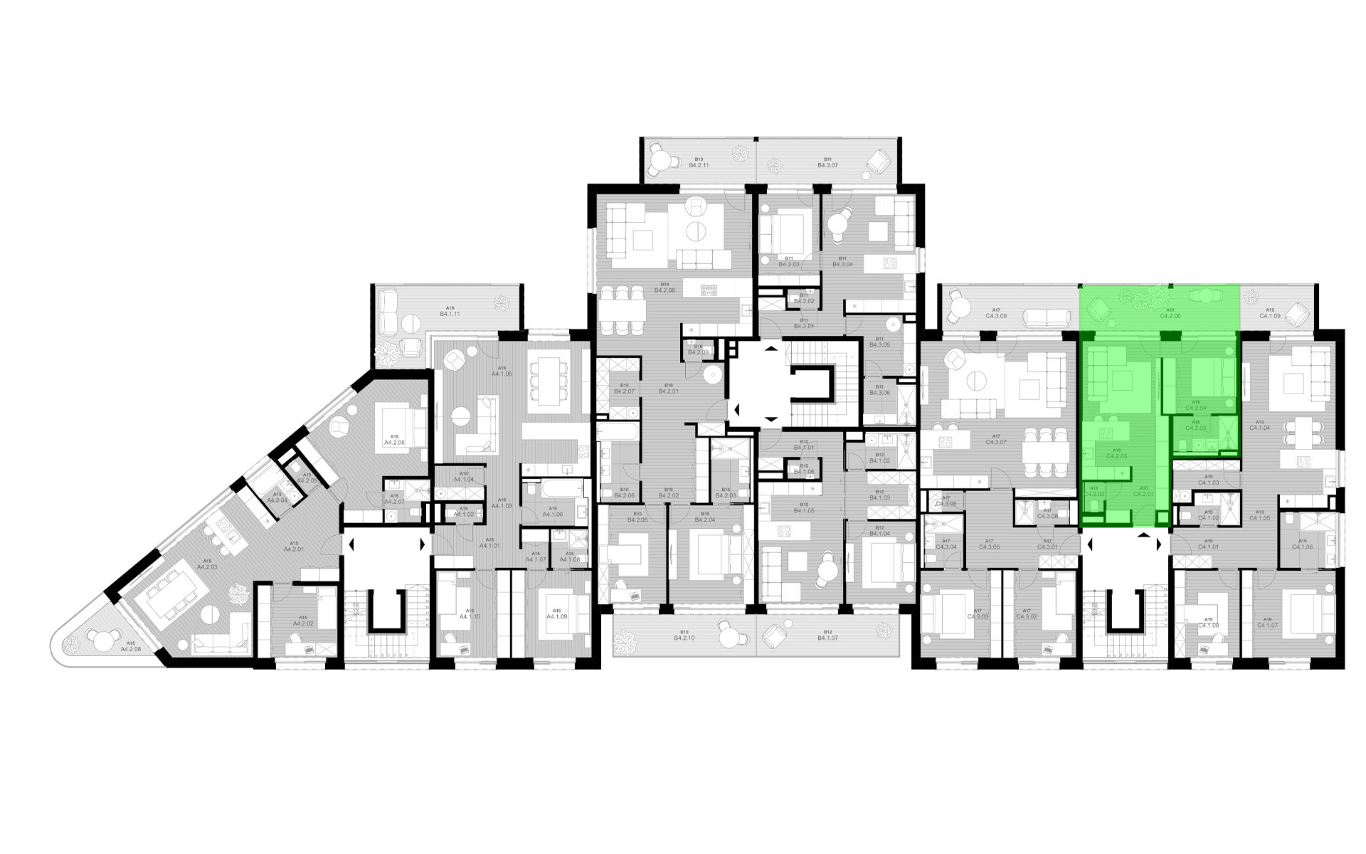 rezidencia K Železnej Studienke - pôdorys so zvýraznením apartmánu C4.2