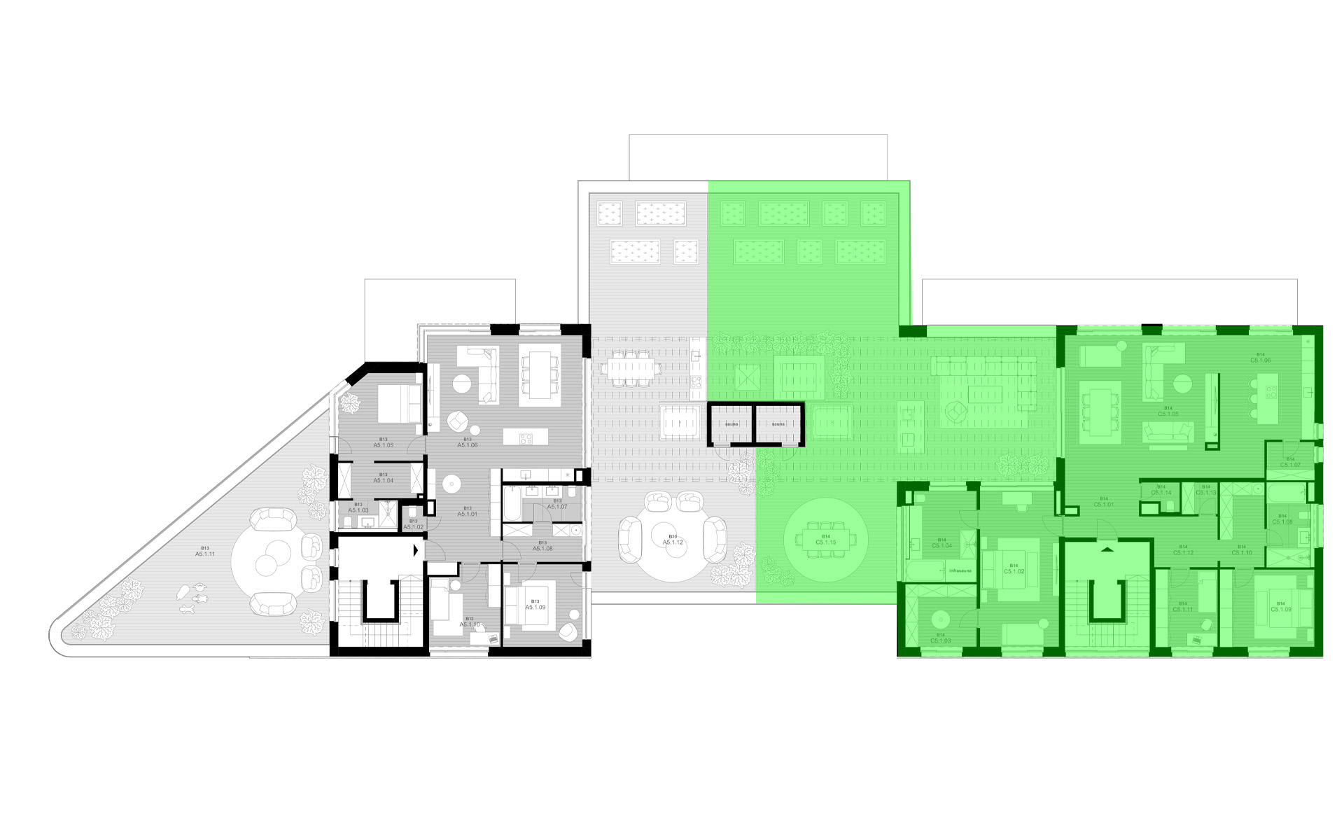 rezidencia K Železnej Studienke - pôdorys so zvýraznením apartmánu C1.2