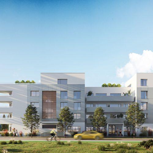 vizualizácia rezidencie K Železnej Studienke - dynamická fotka zachytená spredu