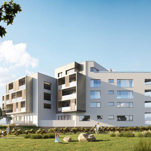 vizualizácia rezidencie K Železnej Studienke - pohľad zachytený medzi stromami